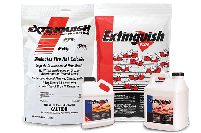 All of the Central Ant Control products are lined up, from left to right they are a jug of Tango™, container of ProBait®, jug of ProBait®, bag of Extinguish® Professional Fire Ant Bait, small jug of Extinguish® Fire Ant Bait, Bag of Extinguish® Plus Fire Ant Bait, and large jug of Extinguish® Plus Fire Ant Bait.