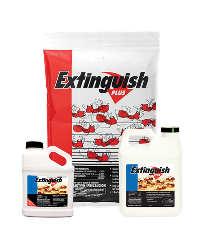 A white bag of Extinguish® Plus Fire Ant Bait has a red arrow and cartoon red fire ants on the front. Next to the bag are two jugs of Extinguish® Plus.
