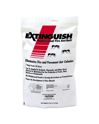A white bag of Extinguish® Professional Fire Ant Bait has a red slash with three ants on the front.