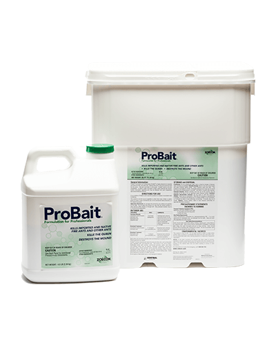 A jug and tub of ProBait® Ant Bait sit next to each other. They both are white with green logos.