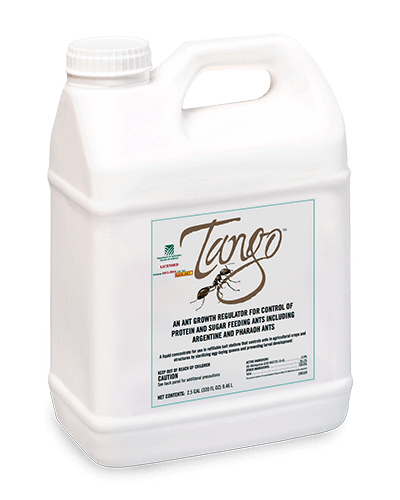 A white jug of Tango™ has a logo with a black ant and cursive writing.